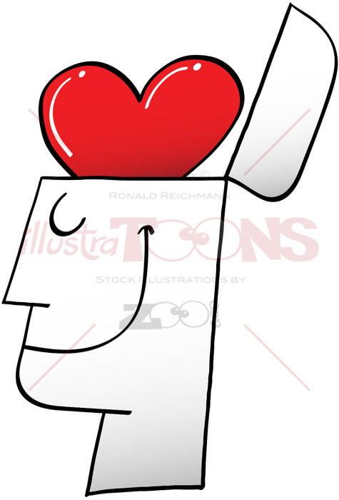 A heart inside my head instead of a brain - illustratoons