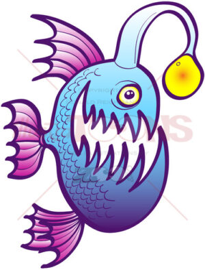 Angler fish smiling mischievously - illustratoons