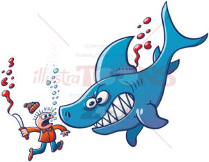 Angry blue shark fighting against finning - illustratoons