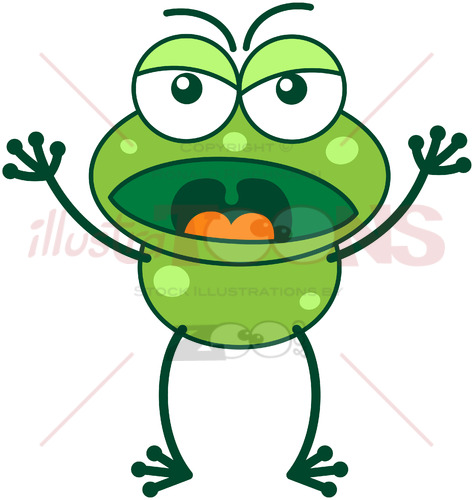 Angry frog yelling at someone - illustratoons