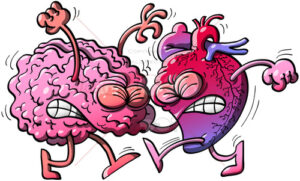 Brain fighting against heart - illustratoons