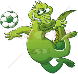 Brave alligator executing a soccer heading - illustratoons