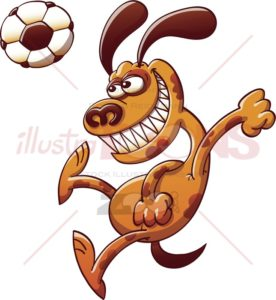 Brave dog heading a soccer ball - illustratoons