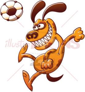 Brave dog heading a soccer ball - illustratoons