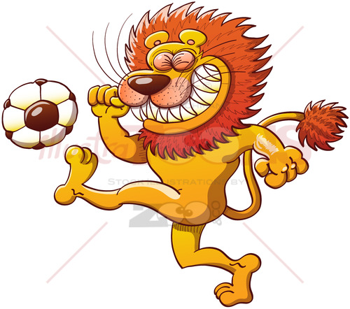 Brave lion kicking a soccer ball - illustratoons