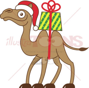 Camel-carrying-a-Christmas-gift-on-his-back