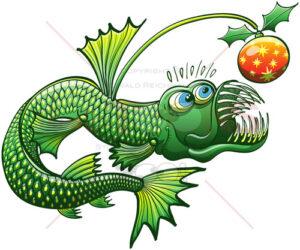 Christmas angler fish carrying a nice bauble - illustratoons