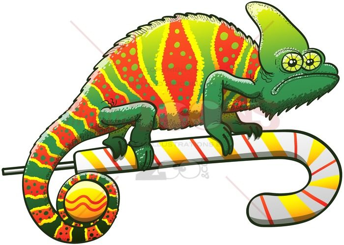 Christmas chameleon with perfect camouflage - illustratoons