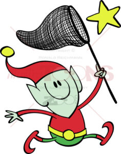 Christmas elf chasing a star with a net - illustratoons