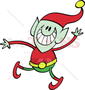 Christmas elf grinning and waving animatedly - illustratoons