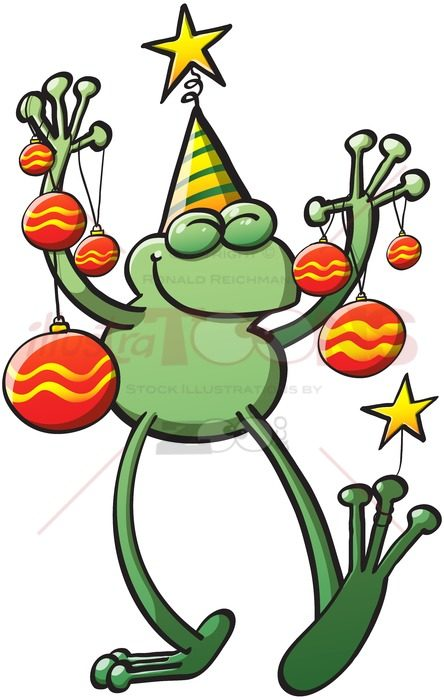 Christmas frog smiling and bringing baubles - illustratoons