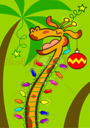 Christmas giraffe celebrating big in Africa - illustratoons