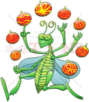 Christmas grasshopper juggling beautiful baubles - illustratoons