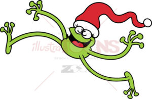 Christmas-green-frog-jumping-out-of-joy