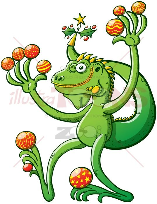 Christmas iguana winking and holding baubles - illustratoons