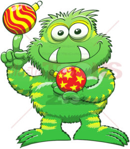 Christmas monster posing with Xmas baubles - illustratoons