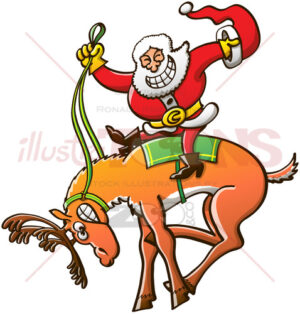 Christmas rodeo and reindeer taming by Santa Claus - illustratoons