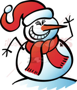 Christmas-snowman-grinning-mischievously