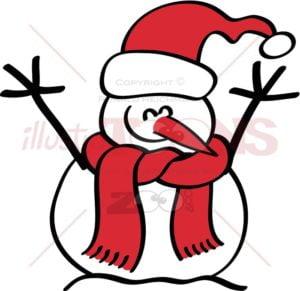 Christmas snowman smiling enthusiastically - illustratoons