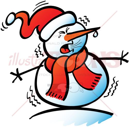Christmas snowman sneezing violently - illustratoons