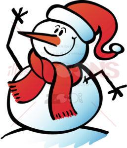 Christmas-snowman-waving-hello-joyfully