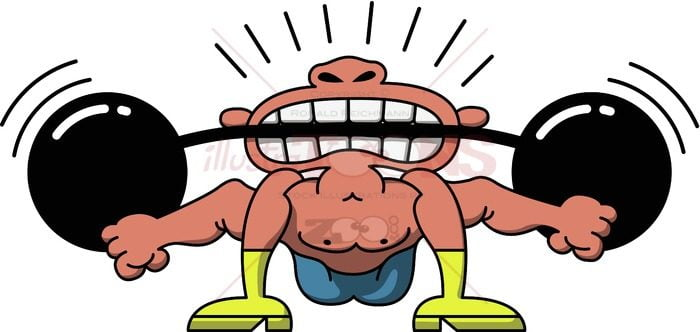 Circus man lifting weights with his teeth - illustratoons