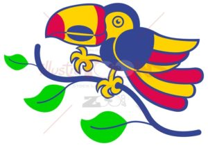 Colorful Amazonian Toucan smiling - illustratoons