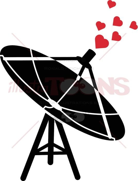 Communications antenna emitting love waves - illustratoons