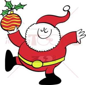Cool Santa Claus bringing a Christmas bauble - illustratoons