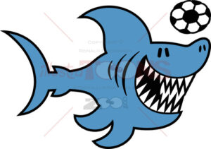 Cool blue shark playing soccer - illustratoons