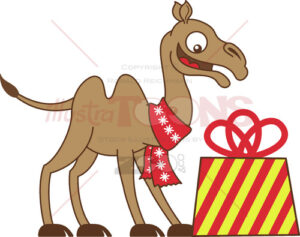 Cool-camel-receiving-a-Christmas-gift