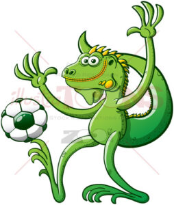 Cool green iguana playing soccer and posing - illustratoons