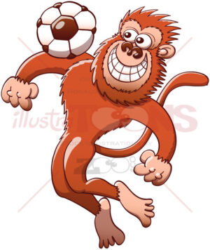 Cool monkey trapping soccer ball with the chest - illustratoons