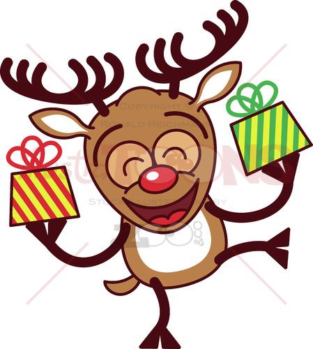 Cool reindeer bringing Christmas gifts