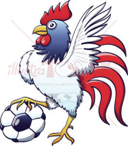 Cool rooster posing and stepping a soccer ball - illustratoons