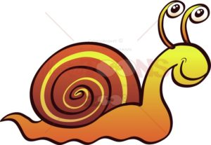 Cool snail smiling and crawling in a relaxed way - illustratoons