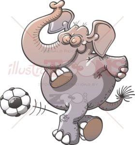 Cool soccer elephant executing a rabona - illustratoons