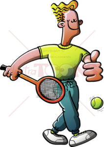 Cool tennis man walking for a training - illustratoons