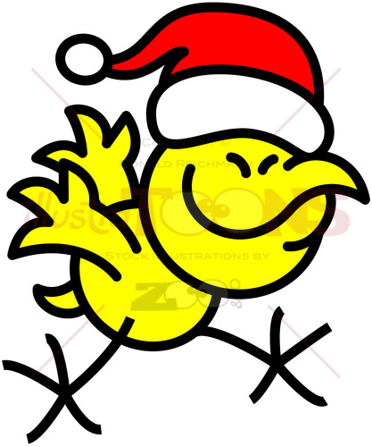 Cool yellow chicken celebrating Christmas - illustratoons