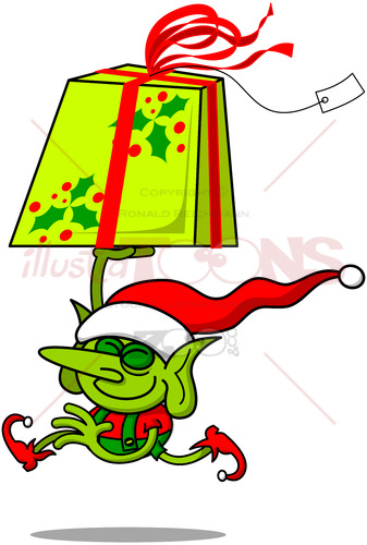Cute Christmas elf running with a huge gift - illustratoons