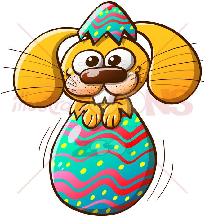 Cute Easter bunny being born from an egg - illustratoons