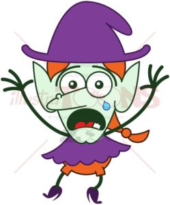 Cute Halloween witch weeping and feeling anxious - illustratoons