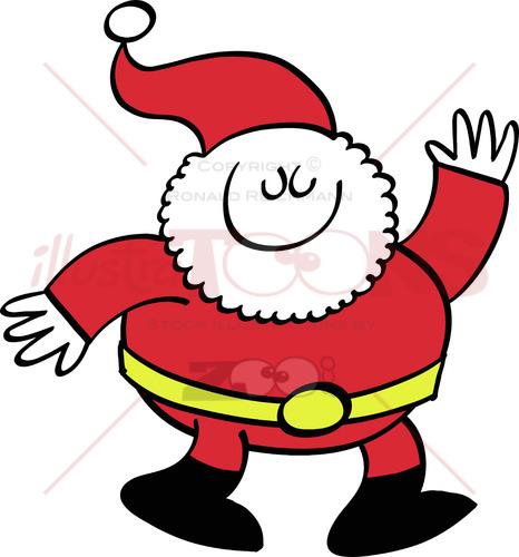 Cute Santa Claus waving animatedly