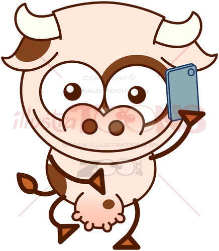 Cute cow talking on a smartphone - illustratoons