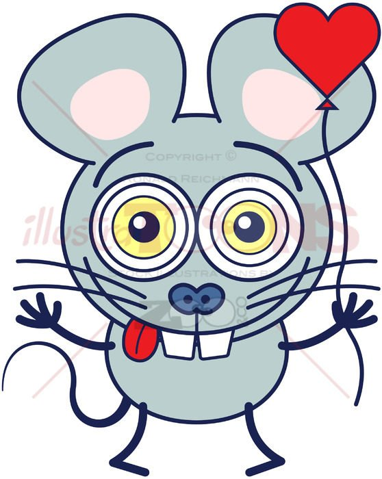 Cute little mouse head over heels in love - illustratoons