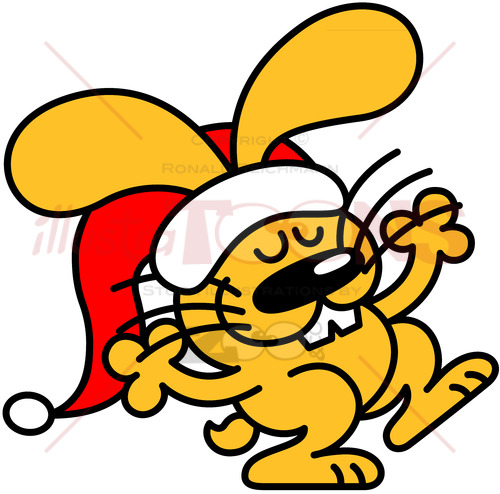 Cute yellow bunny celebrating Christmas - illustratoons