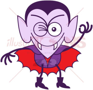 Dracula winking and making an OK sign - illustratoons