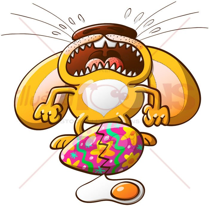 Easter bunny crying about its broken egg - illustratoons