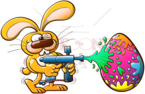 Easter bunny shooting colors to an egg - illustratoons