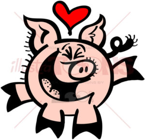 Enthusiastic pig falling head over heels in love - illustratoons